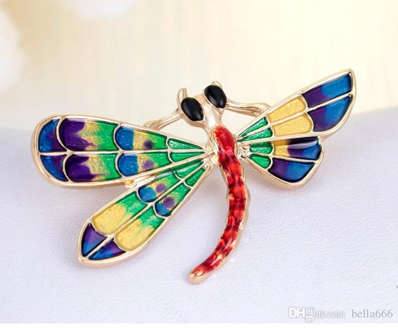 Fashion Women Alloy Enamel Lovely Dragonfly Colorful Insect Brooches Gold Plated Brooch Pins Corsage Gift Jewelry Accessory