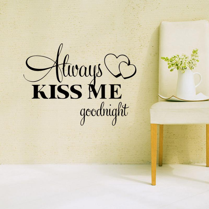 Love Wall Stickers Bedroom Quotes Alway Kiss Me Goodnight Home