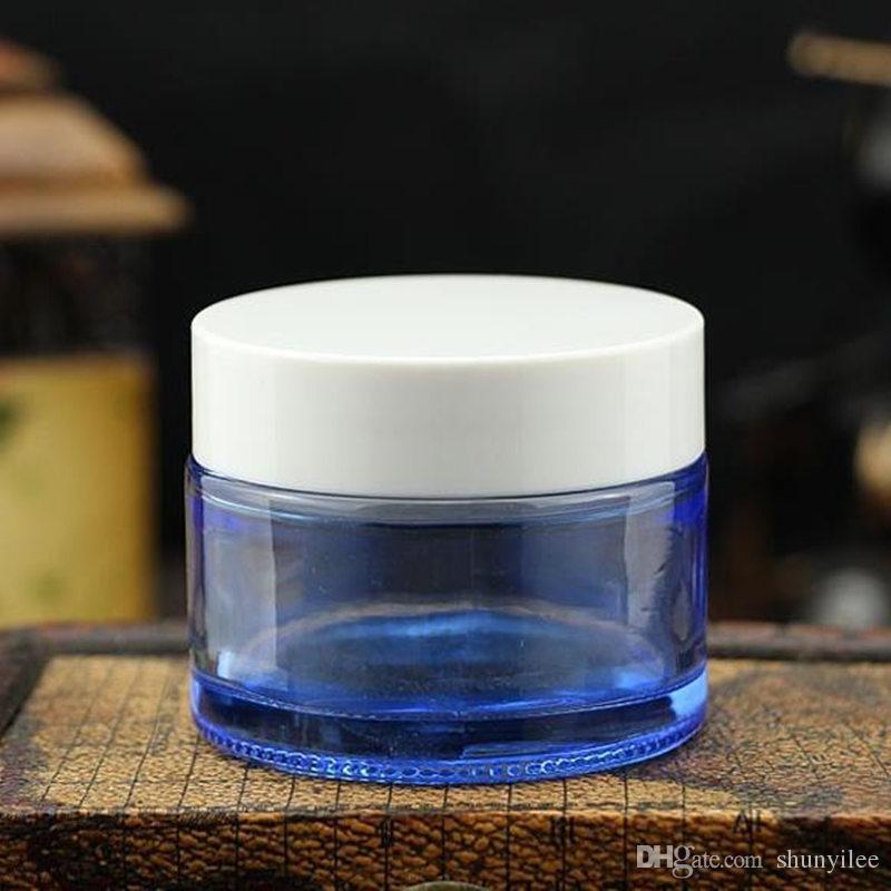 Barattolo il barattolo degli occhialini vetro blu da 50 g vuoto Contenitore cosmetico blu barattolo di vetro con tappo bianco argento F20171640