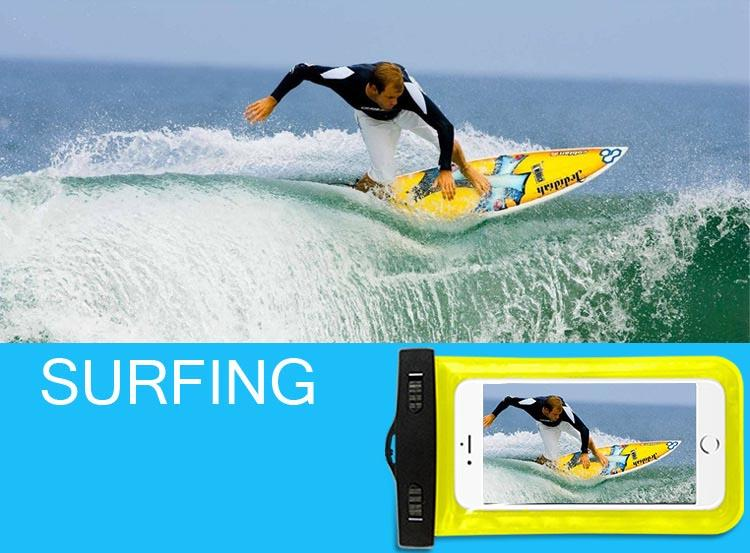 Cajas impermeables universales para iPhone 12 11 XR XS Samsung Teléfono Transparente Bolsa transparente Natación Funda seca Funda protectora completa Pantalla táctil flexible
