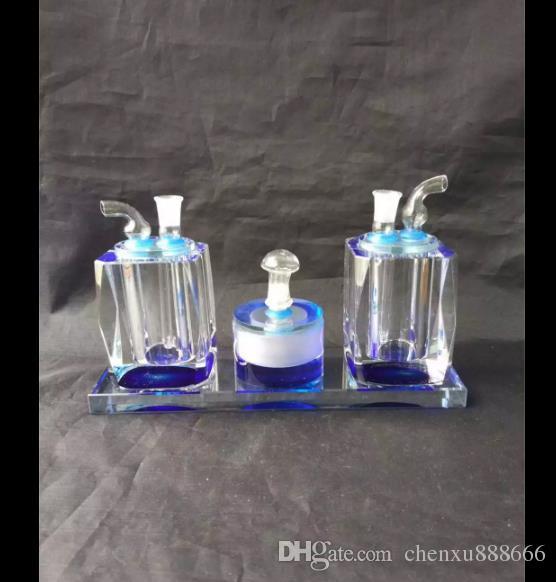 이중 크리스탈 물 공급, 유리 물 파이프 담배 파이프 여과기 유리 봉 석유 버너 물 파이프 Dingpper