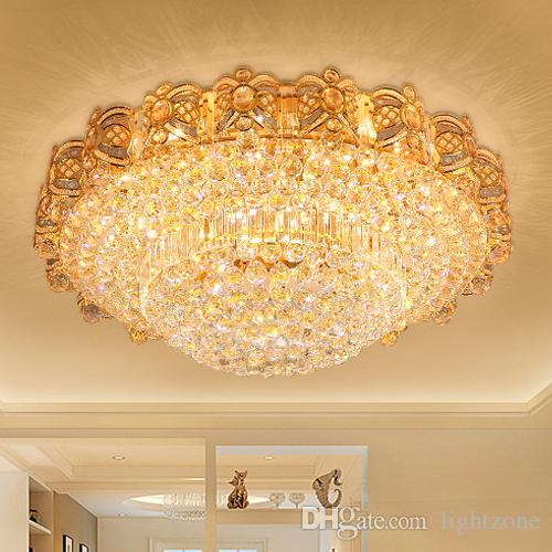 LED Crystal Chandeliers Gold Fancy Round High Class K9 Chandelier Hotel Lobby Villa Led Pendant Including Free Bulbs Golden