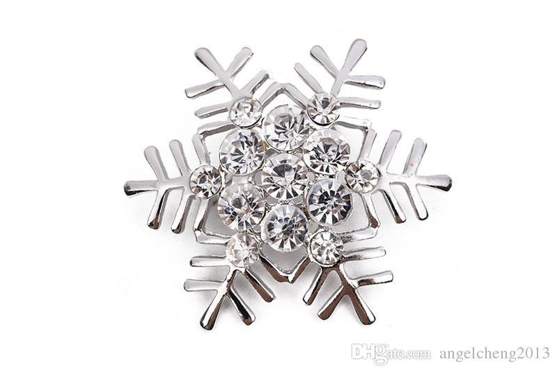 Kadınlar Moda Broş iğneler Retro Yıldız Noel Hediyesi Korsaj 2 Renk Seçenekleri için Yüksek Kalite Kristal Rhinestone kar tanesi Broş