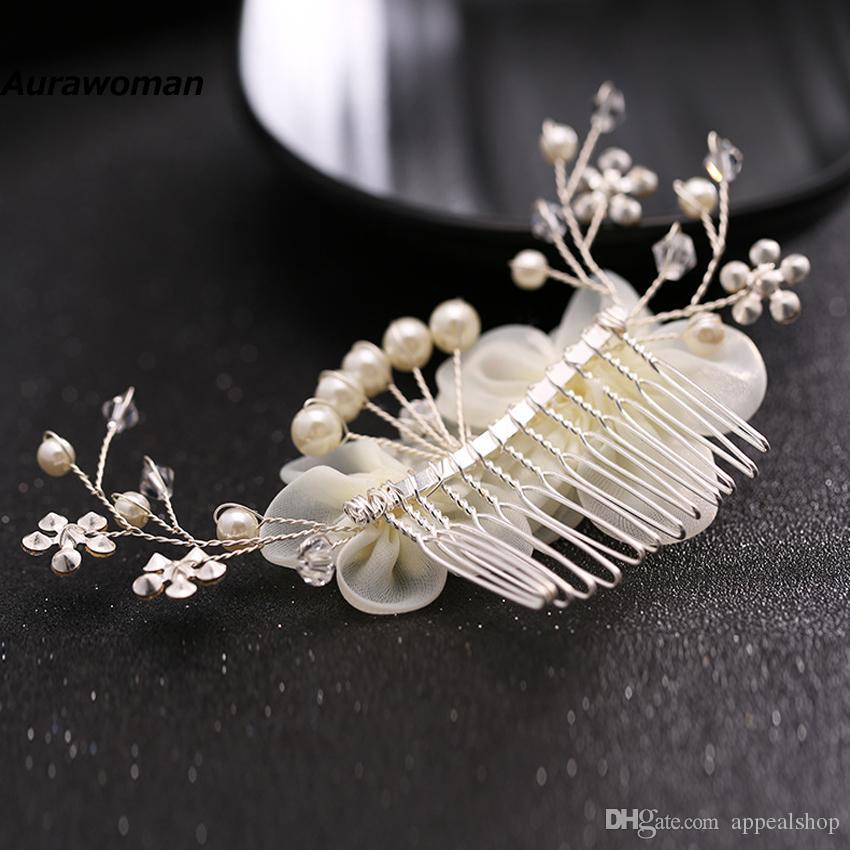 New Arrival 2017 Wedding Hair Combs Tiara Diamond Silk Flower Pearl Combs Wedding Hair Accessories Bridal Hair Clip Headdress Bride Headband