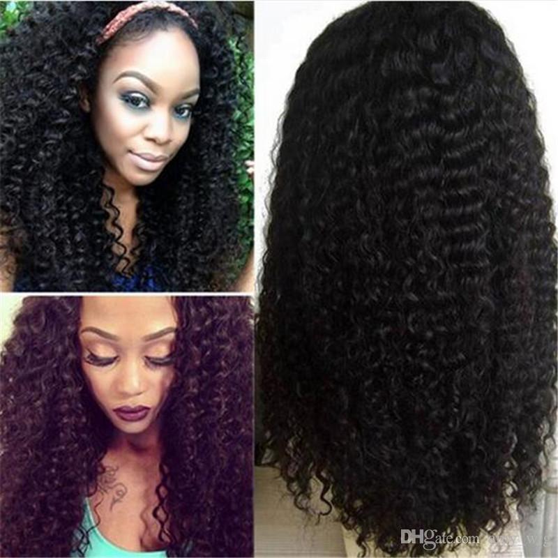 Parrucca di pizzo le donne nere parrucche piene dei capelli umani del pizzo con i capelli del bambino capelli profonde brasiliani dei capelli i capelli del remy spedizione gratuita