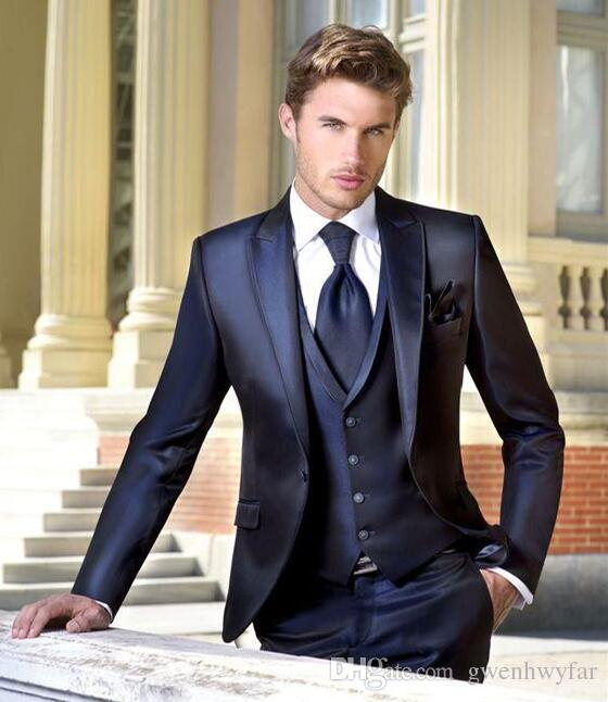 Cheap Dark Navy Wedding Tuxedos Slim Fit Suits For Men Jacket Vest And Pants Groom Suit Three Pieces Formal Prom White