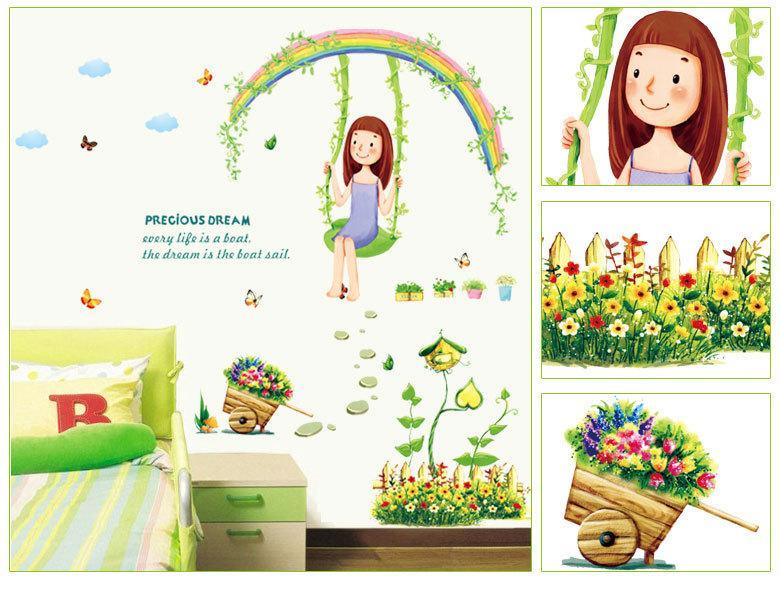 7264 Diy Cartoon Swing Girl Diy Wall Stickers Decal Rainbow Flowers