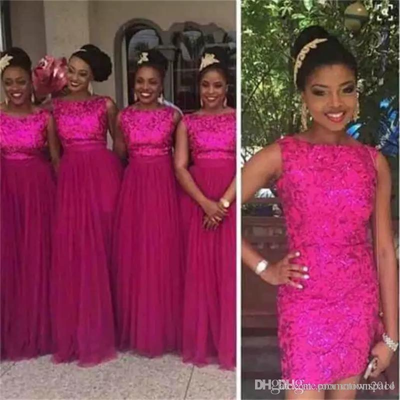 Rose Red Sequins Bridesmaid Dresses 2017 With Removable Skirt Long Tulle Wedding Party Guest Dress Nigerian African Style Plus Size