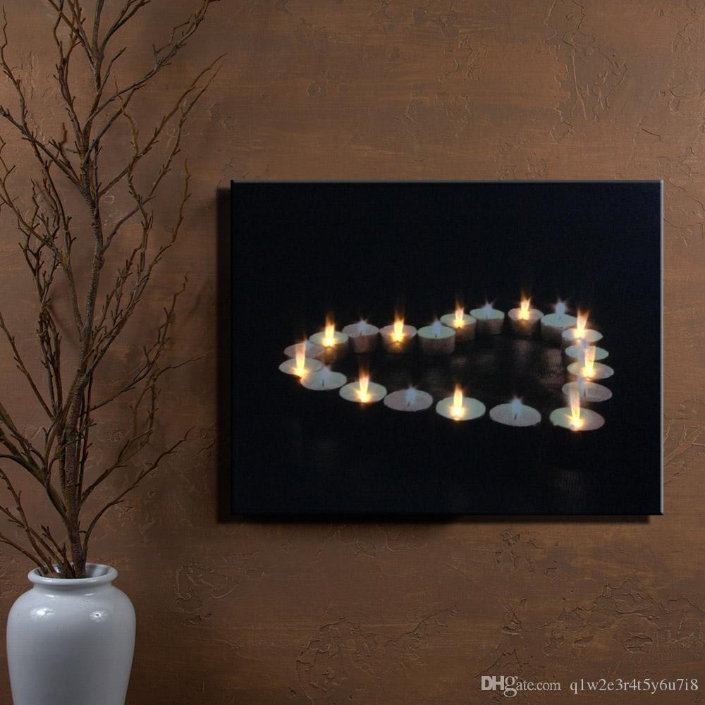 Wall Art With Lights 2017 wall art with flicking led lights canvas print lighted candle
