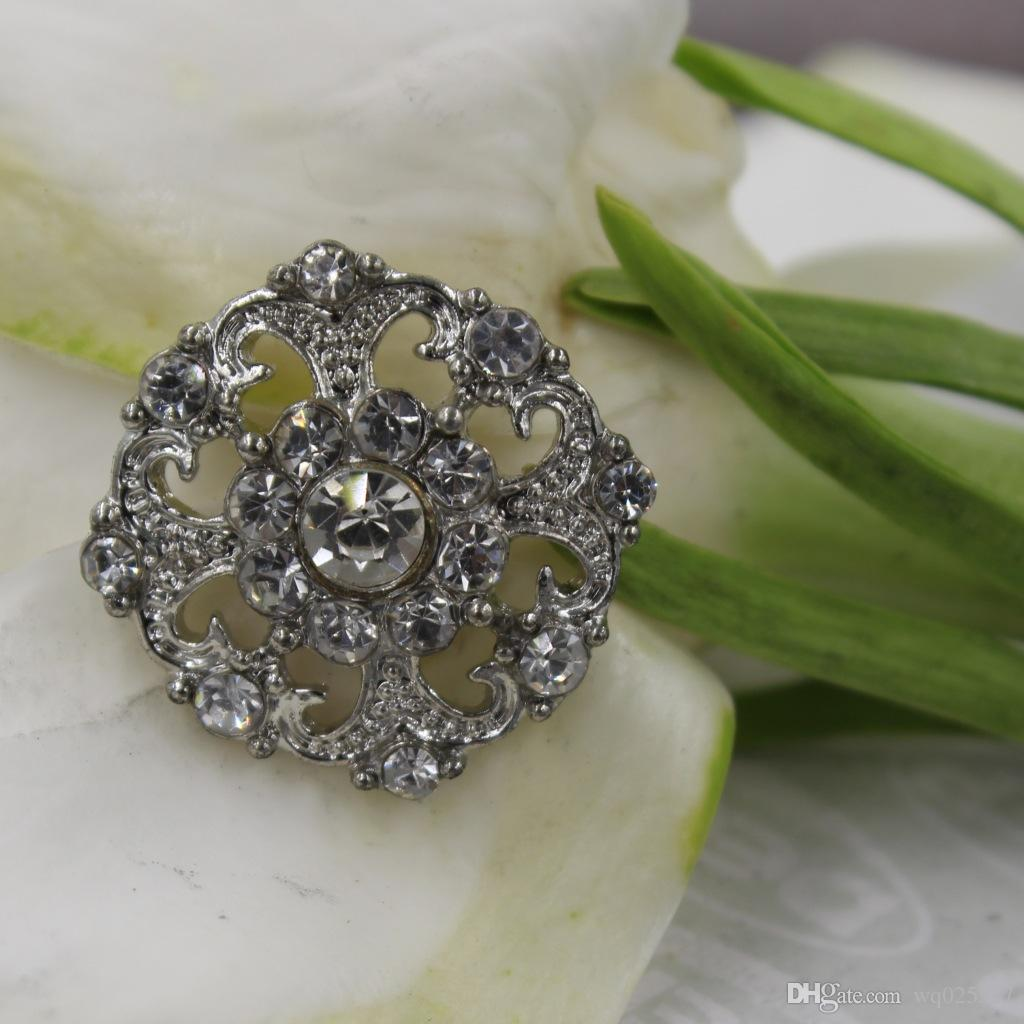Hermosos botones de diseño de flores exquisitas, aleación con incrustaciones de botón de diamantes de imitación, botones de bricolaje, gemelos de todos los partidos / # 01302 #