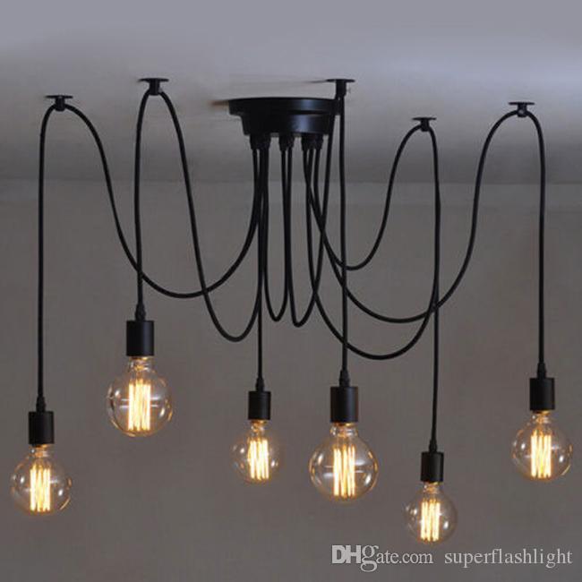 6 Heads Vintage E27 Bulb Industrial Ceiling Lamp Edison Light Chandelier Pendant Lighting Simple Structure LEG_401