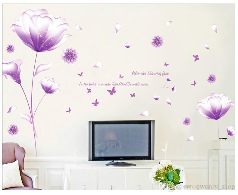 Wholesale Removable PVC Wall Stickers Pink Flower Home Decals Kids Room Wallpaper Nursery Wall Decor Wall Art Sticker