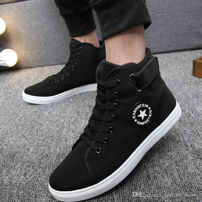 1c23e9545 Korean High Top Men Shoes Casual Fashion Breathable Rammstein Canvas Shoes  Man Lace Up Hip Hop Flat Shoes Men Tenis Masculino Adulto Sapatos Brown  Shoes ...