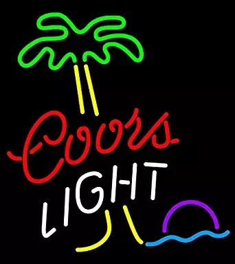 "17""x14"" Coors Light Palm Tree Custom Handmade Glass Tube Neon Light Sign"