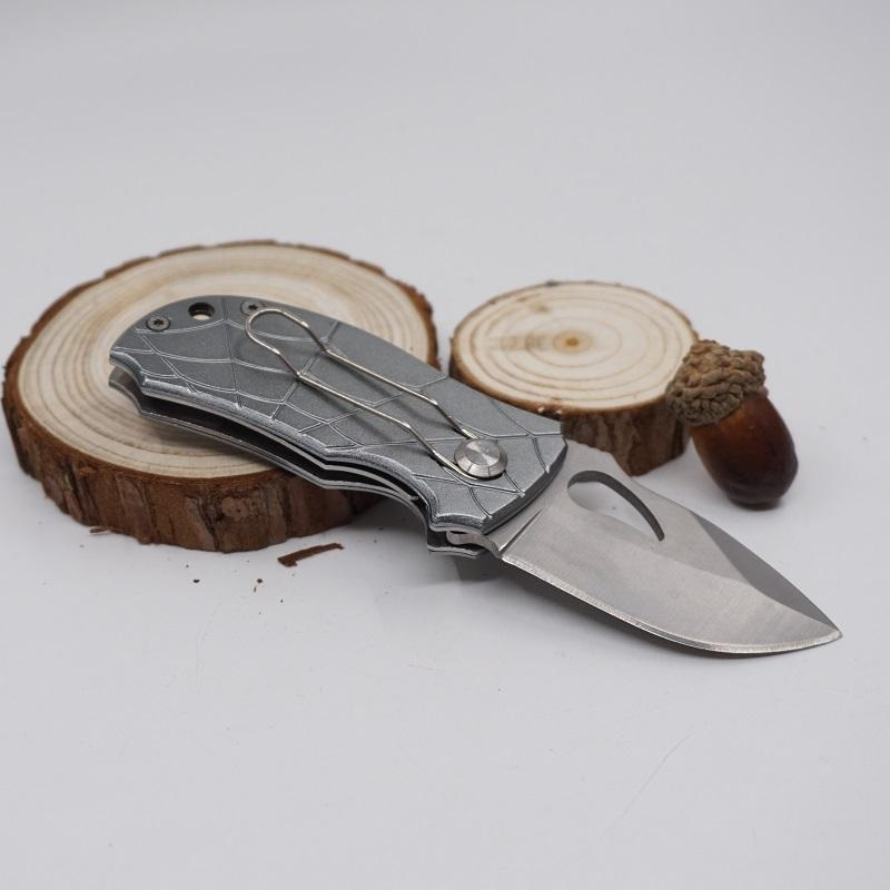 Small Folding Pocket Knife Outdoor Camping Hunting Knife Tactical Survival Knife 13Cr13Mov Blade Sliver Black EDC Tool