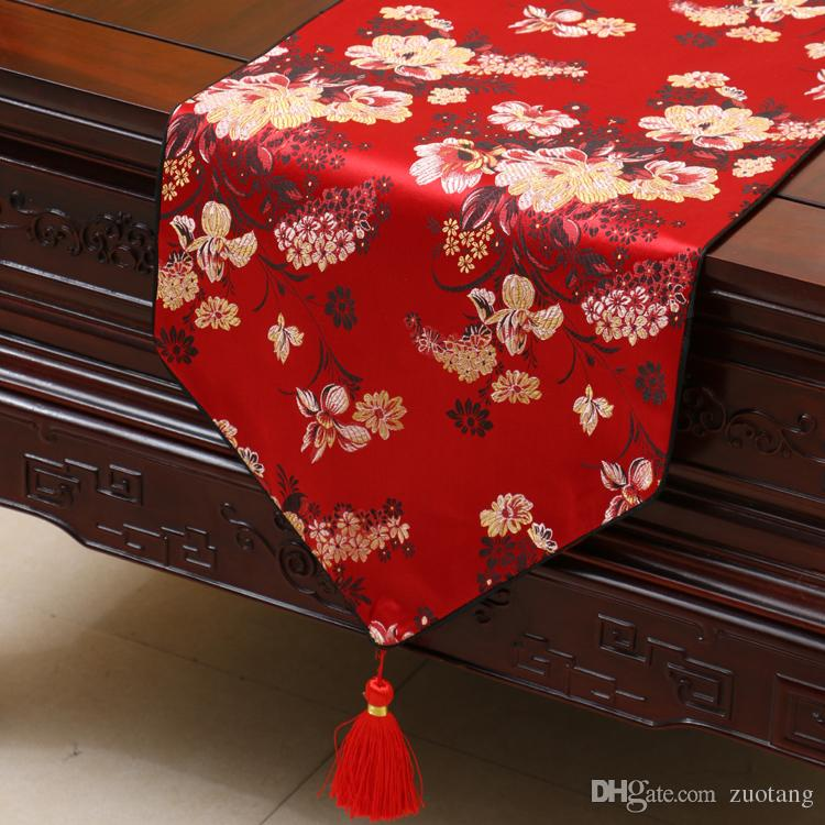Extra Long 120inch Plum Bamboo Table Runner Fashion Luxury Decor Dining Room Table Cloth High End Silk Brocade Protective Pads 300x33 cm