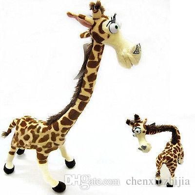 Toptan ucuz SıCAK Madagaskar Melman Doll Güzel Uzun Boyun Zürafa Dolması Peluş Oyuncak Çocuklar 14 ''