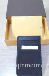 Envío gratis Damier Gennuine portadores de la tarjeta de cuero para mujer cartera de tarjeta de crédito negro marrón letra marca alta calidad monedero