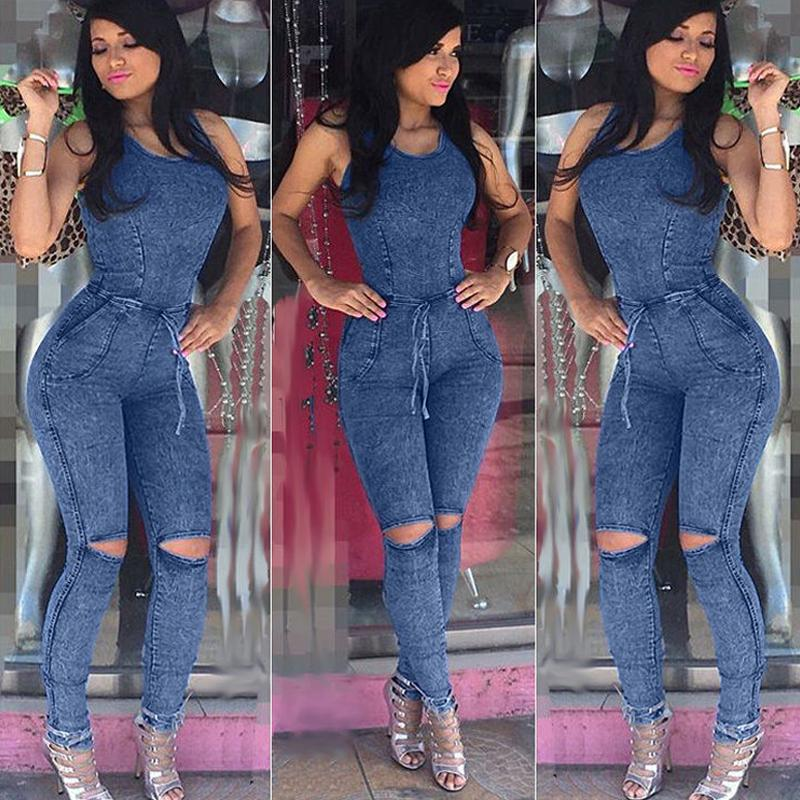 feb220b42ff 2019 Wholesale Casual Women One Piece Outfits Jumpsuits 2017 Denim Ladies  Sexy Slim Sleeveless Jumpsuits Casual Party Bodycon Overalls From Rebecco