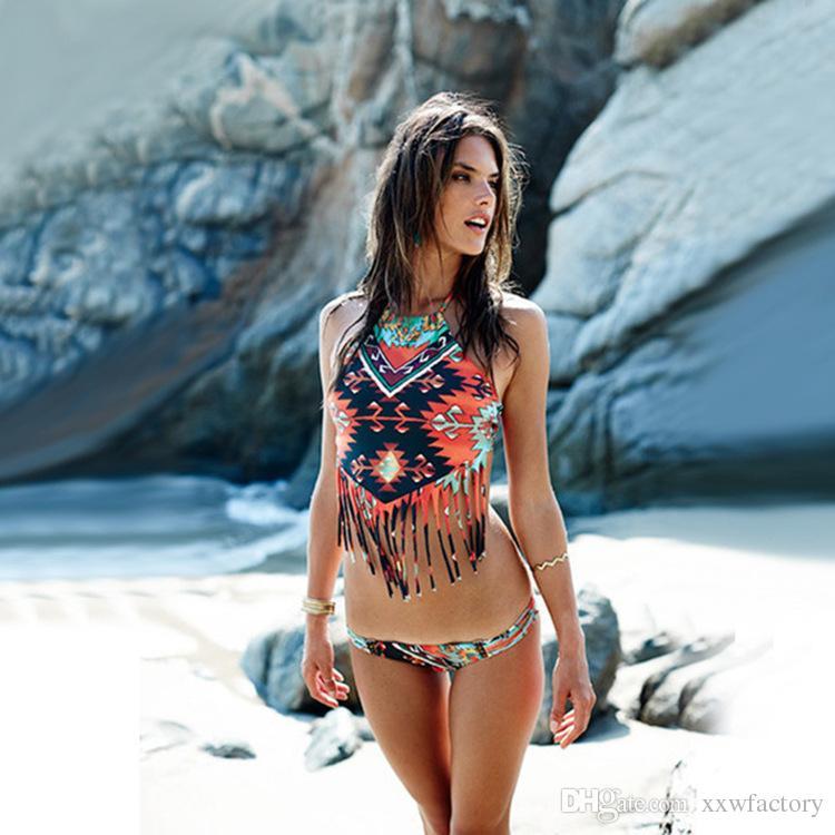 Hot Women Sexy Floral Printed Bikini Set Swimwear Halter Hanging Neck Swimsuit Comfortably Swimwear Bathing Suit