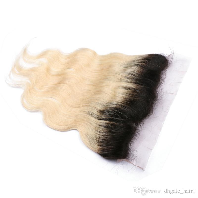 Gros T1B / 613 Blonde Ombre Brésilienne Vierge Vierge Cheveux Bundles Avec Vague de Corps Racines Noires Blonde Ombre Full Lace 13x4 Frontale