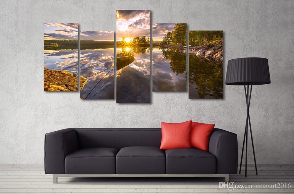 HD Printed Ringerike Norway Lake Picture Wall Art Canvas Print Room Decor Poster Canvas Painting Large Wall Art