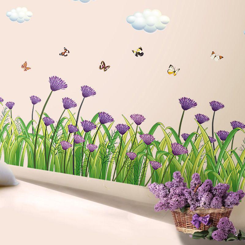 b purple flowers skirting line wall sticker decal home paper pvc