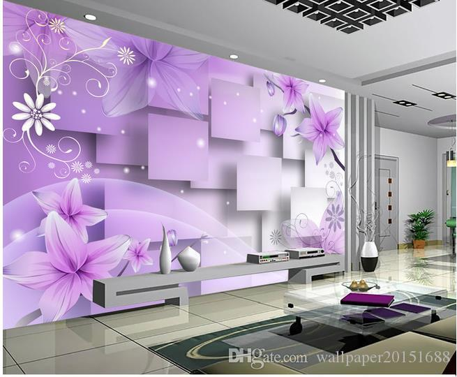 Home Decor Living Room Natural Art Purple Warm Flowers Tv Wall Mural 3d Wallpaper Papers For Backdrop Images Of Wallpapers On