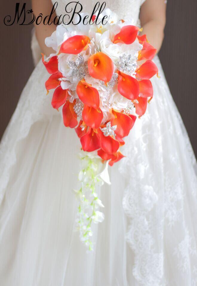 2018 Perla artificiale di cristallo Mazzi nuziali Cascata d'avorio Wedding Bridal Flower Red Brides Handmade Brooch Bouquet De Mariage