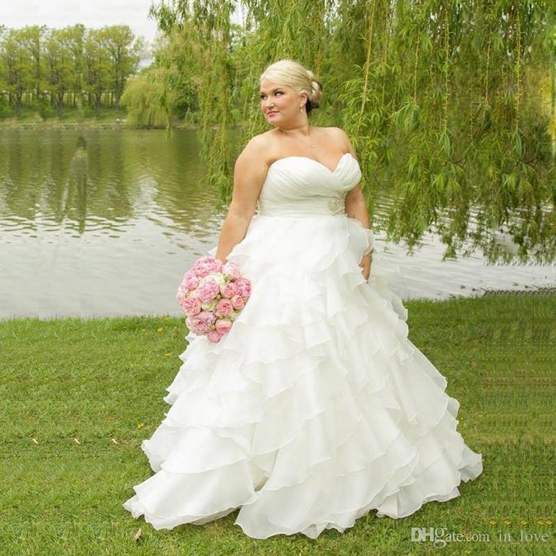 Plus Size Brautkleider Rüschen Organza Perlen Falten Schatz Eine Linie Neue Atemberaubende Brautkleider Benutzerdefinierte Größe