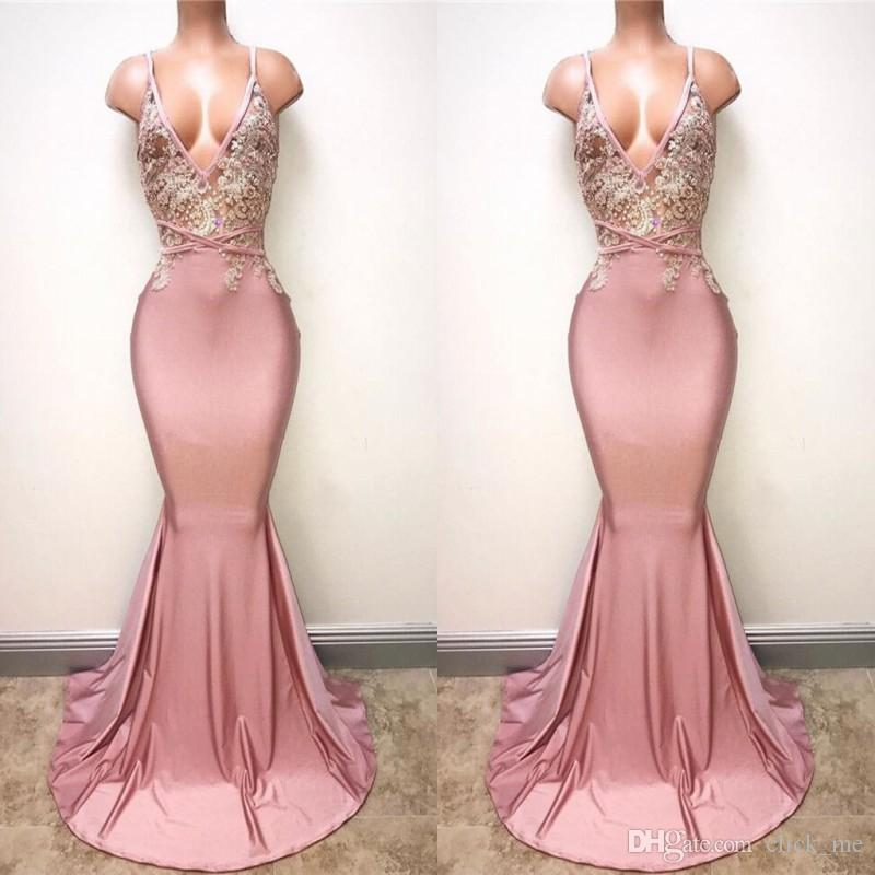 de62ebd9439 Dusty Pink Sexy Prom Dresses With Deep V Neck Appliques Beads Mermaid  Evening Dress Sleeveless Back Sexy Cocktail Party Gowns Formal Wear Dress  Prom Elegant ...