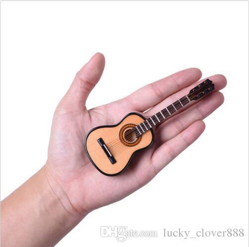 Échelle 1/12 Acoustique Instrument de Musique Dollhouse Meubles Miniature Salle de musique Mini Folk Guitare Musique Figure jouet avec Support de cas