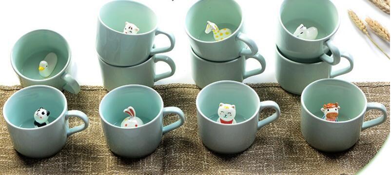 Yaratıcı seramik süt kupa hayvanlar sevimli karikatür üç boyutlu kahve kupası Isıya dayanıklı Seladonlar fincan güzel hediye
