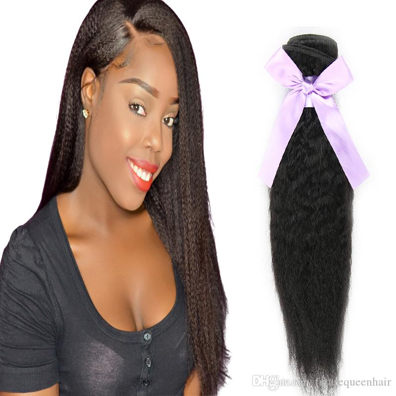 3 or 4 pcs 100g Brazilian Kinky Straight Hair Weave Bundles 100% Human Hair Yaki Remy Hair Natural Black color for women