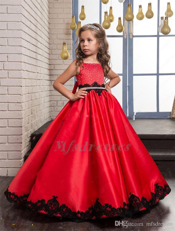 2017 Kırmızı Çiçek Kız Elbise Düğün Için Kare Boncuk Dantel Aplikler Kızlar Pageant Törenlerinde Ile Yay Kanat Fermuar Geri Güzel Çocuklar Elbise