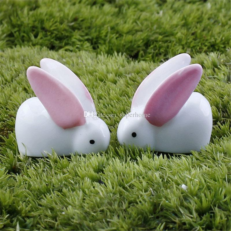 Fairy Garden Miniature Rabbits 2 Arten Little Bunny White Resin Craft Heimtextilien Terrarium Figur Dekoration Cute Garden Ornament