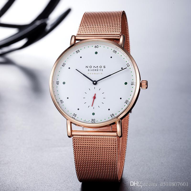 2017 Новые роскошные часы Марка NOMOS Водонепроницаемые Кварцевые Часы Мужчины Кожаное Платье Наручные Часы Мода Повседневная Часы Женщины