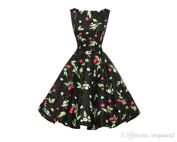 Women Elegance Europe and America Casual Dress Retro Hepburn Wind Crew Neck Print Sleeveless Wasit Thin Big Swing Skirt Dress