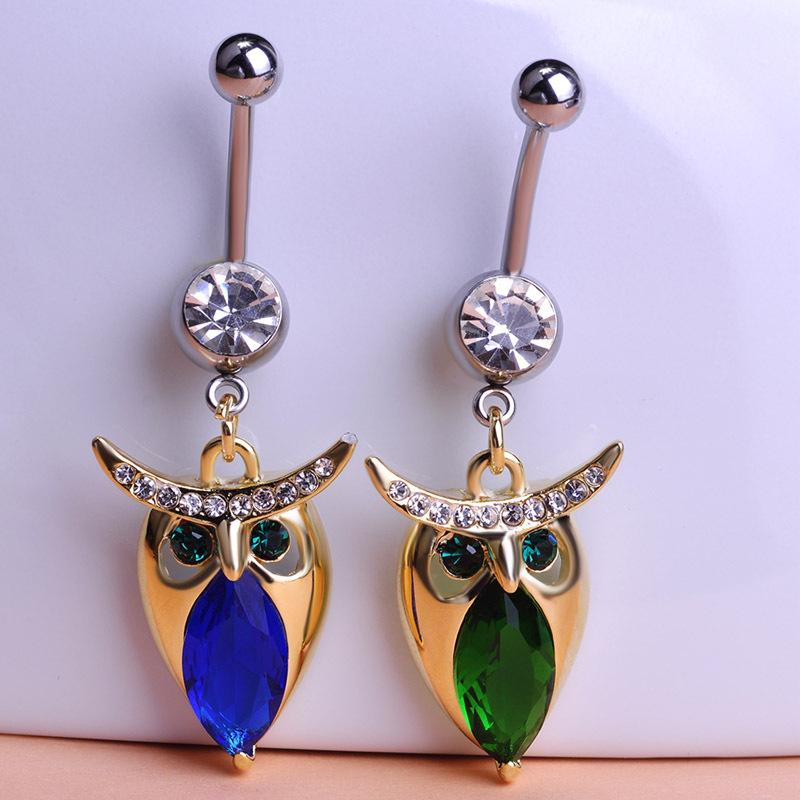 Madrry Illuminati Green Owl Piercing ombelico ombelico Anelli bottoni Bar Percing Sexy Body Jewelry Gothic Femininos Unhas