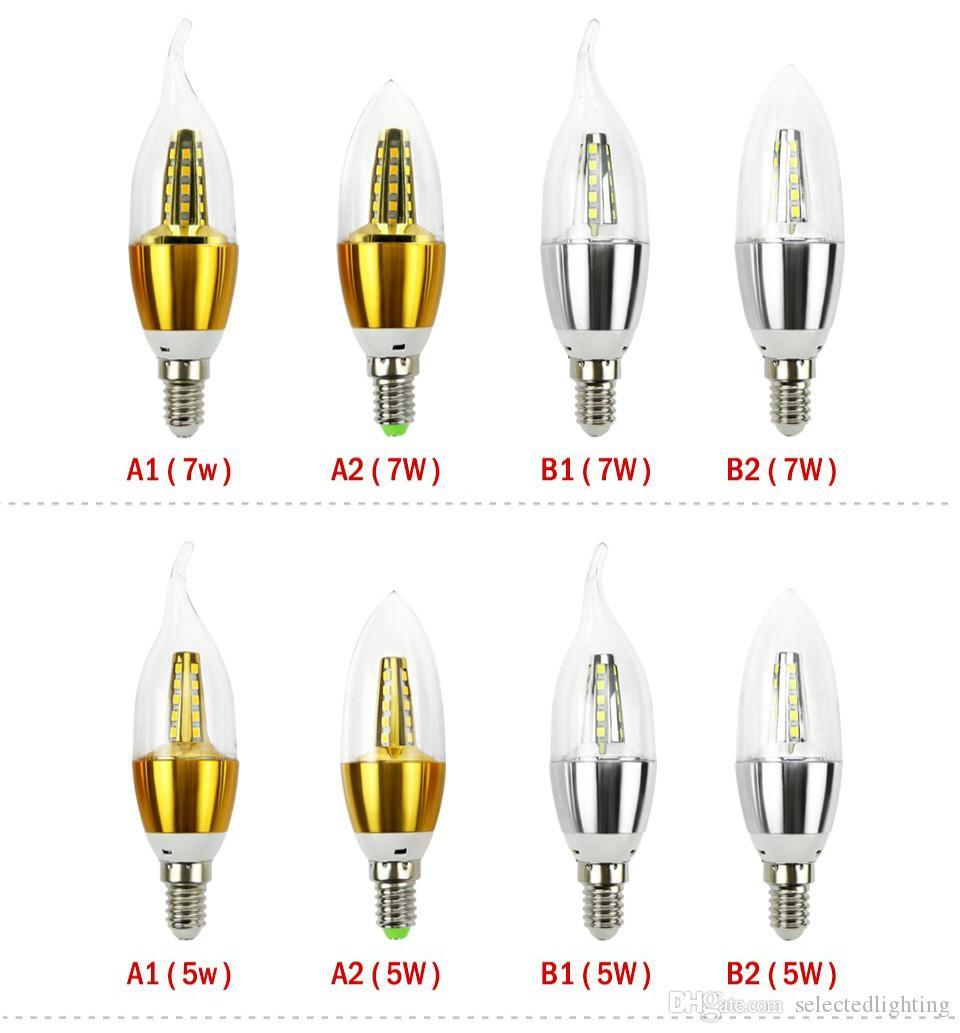 Les lumens élevés ont mené la lampe économiseuse d'énergie de l'ampoule E14 SMD2835 menée par la lumière de bougie 5W 7W 220V 110V