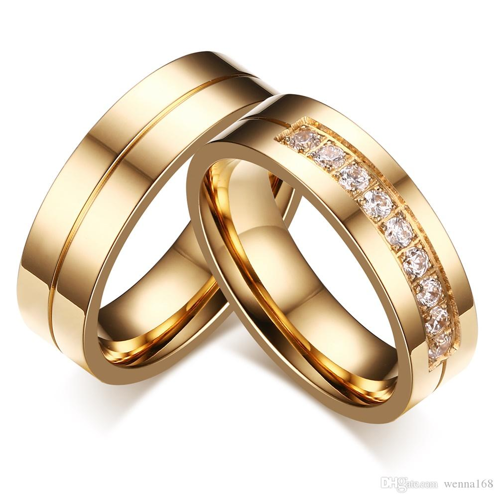 2017 2017 Selling New Simple Titanium Steel Couple Ring 18k Gold ...