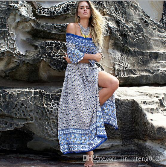 Free Shipping,Quick Selling,Occident Women's New Style Sand Slash Neck Beach Dress,Long Floor Length Bohemia Dress Wholesale,2 Colors