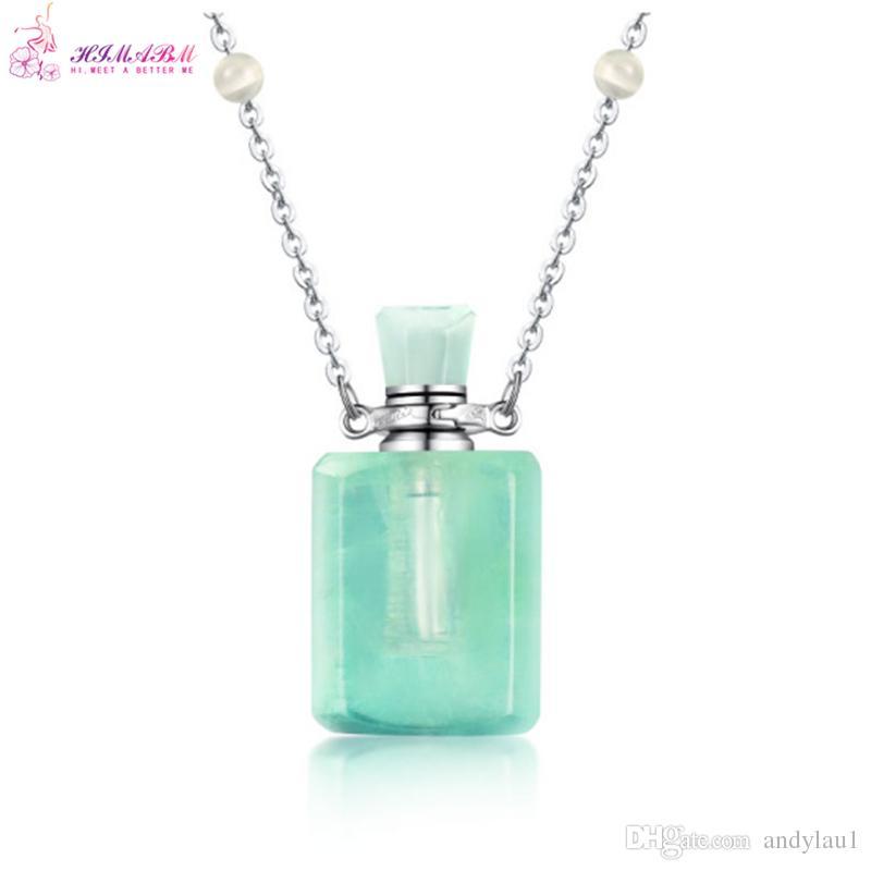 HIMABM Rectangle Green Fluorite Perfume Bottle Scent-bottle Essential Oil Bottle Can volumetric flask Birthday Christmas Gift