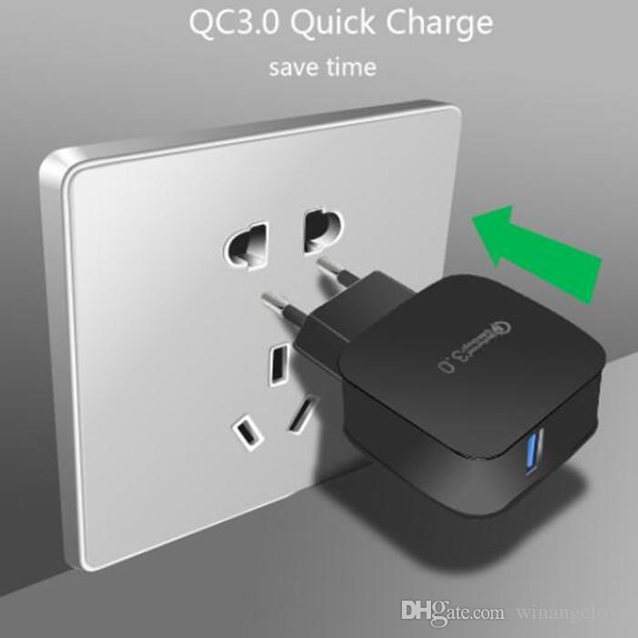Caricatore da muro CA CA USB ricarica plug-in QC 3.0 EU US Plug iPhone 7 7 Plus Samsung s8