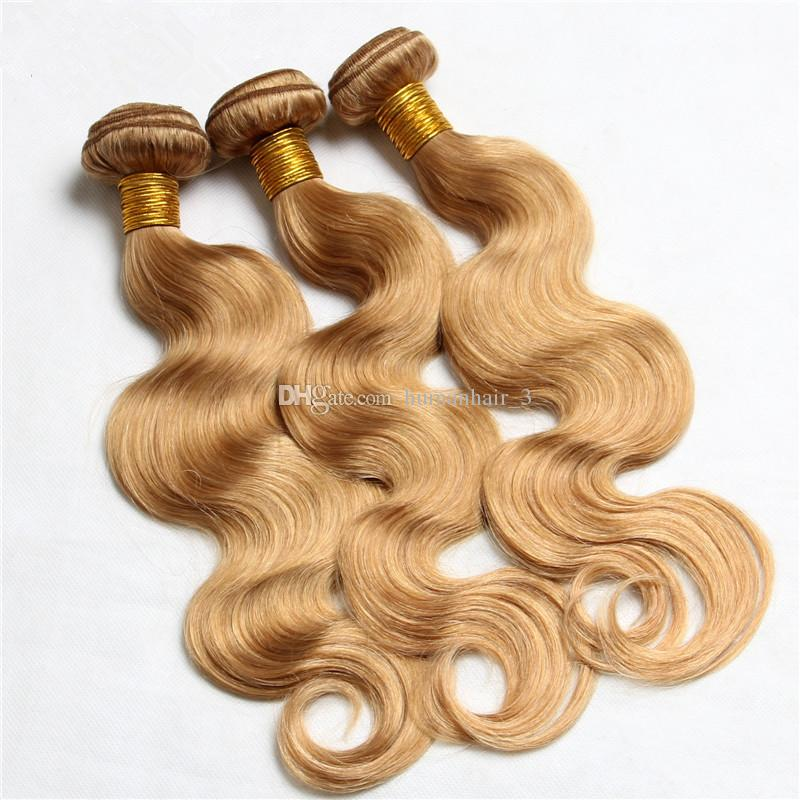 Strawberry Blonde Human Hair Bundles With Lace Closure 27 Pure Color Honey Blonde Body Wave Human Hair Weaves With 4*4 Lace Closure