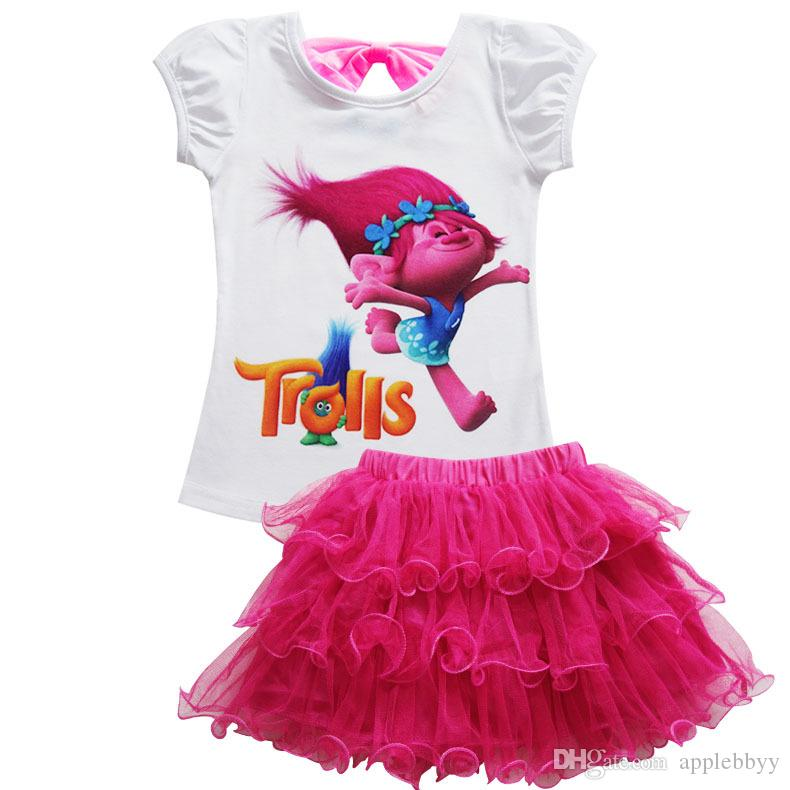 Trolls Baby Girl Clothes Summer Casual Sets Children Cotton Tshirt skirt Dress Suits Birthday Kids Clothing