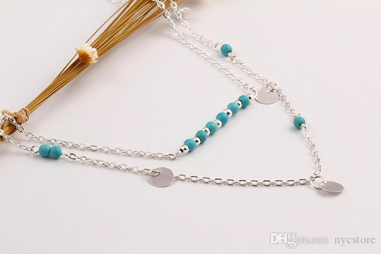 turquoise charms round coin sequins double chain necklaces women's gold silver jewelry wholesale