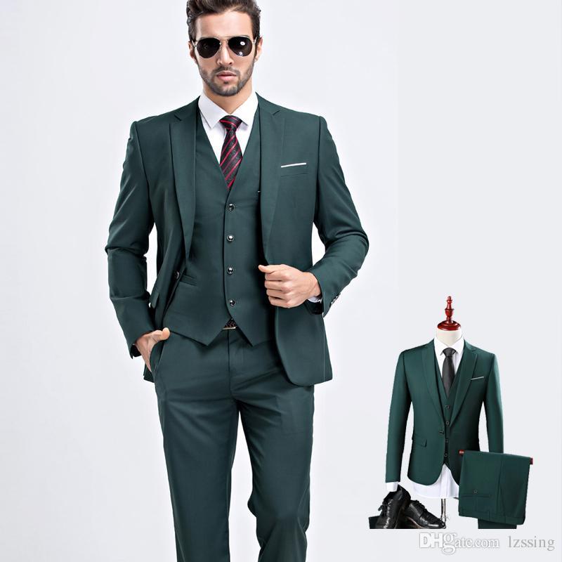 36e25d579 Trajes de boda de diseño moderno en verde oliva negruzco para hombres Traje  formal de traje de hombre de Slim Fit 2 piezas y 3 piezas L-915
