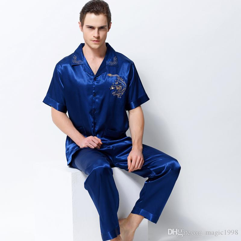 065de8dcbeb6 Man Pajamas Satin Silk Pyjama Sets Summer Short-Sleeved Embroidery Sleepwear  Emulation Silk Male Pijama Set 3312 Pajamas Men Pajamas Silk Pajamas Online  ...