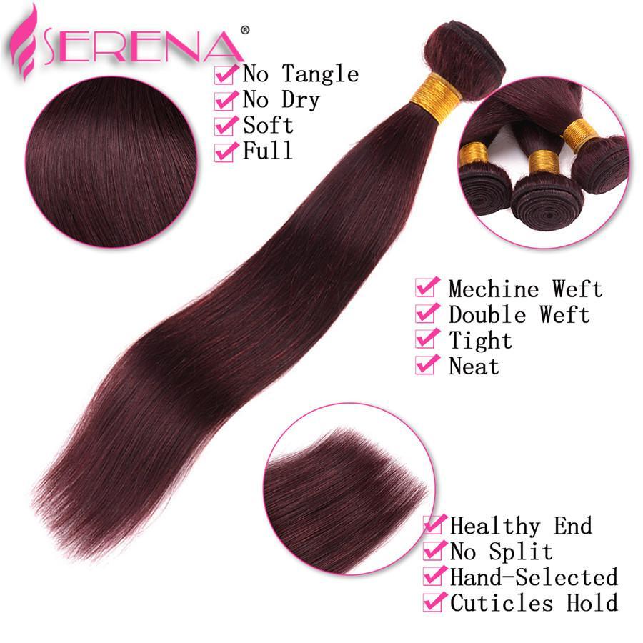 Burgundy Wine Red Color 99J Brazilian Virgin Hair Weave Bundles Peruvian Malaysian Indian Silky Straight Virgin Human Hair Extensions